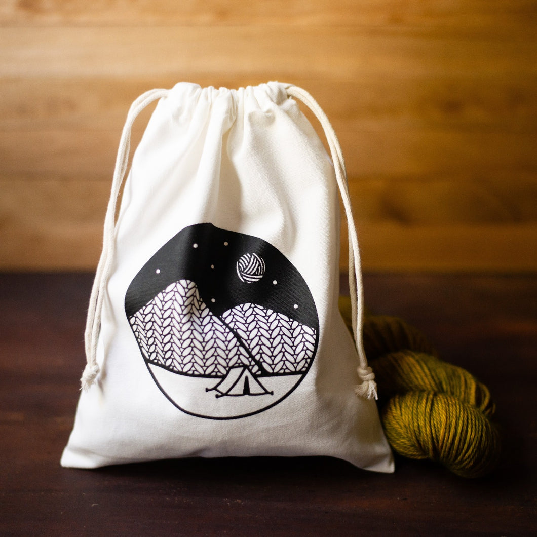 cotton drawstring knitting project bag