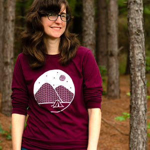 Camping T-Shirt, Unisex Long Sleeve