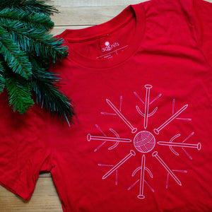 holiday knitting t-shirt for women by adKnits
