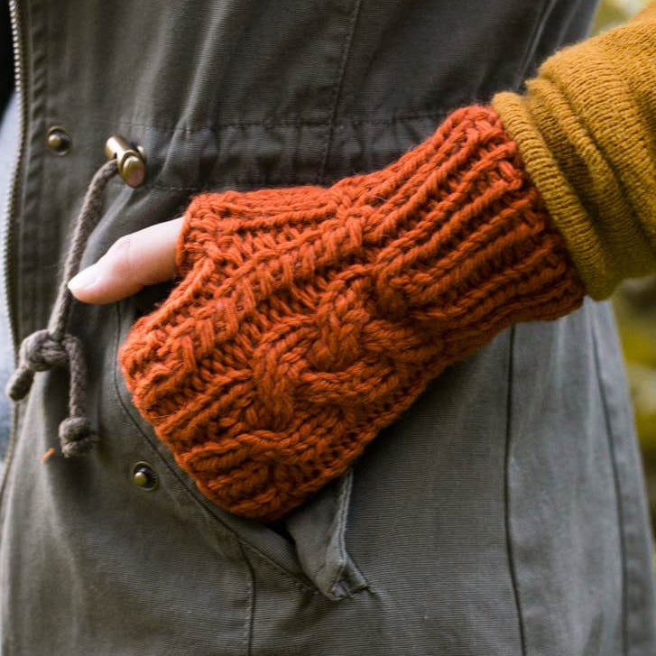 chunky cable fingerless mitten knitting pattern