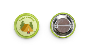 camp knitter  pin, knitting pin-back merit badge by adKnits