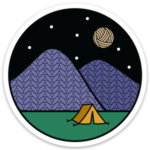 Camping sticker for knitters