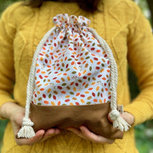Fall leaves knitting and crocheting drawstring project bag