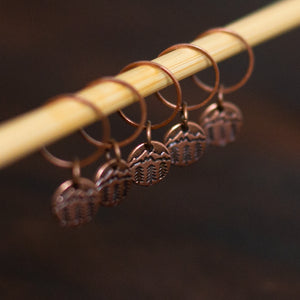 Mountains and pine tree antique copper stitch markers for knitters