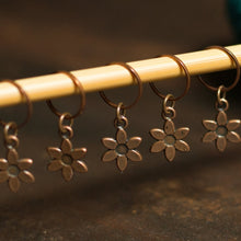 Copper flower stitch markers for knitting by adKnits