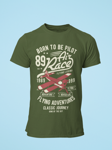Air Race - Men's Half Sleeve T-Shirt - Olive Green