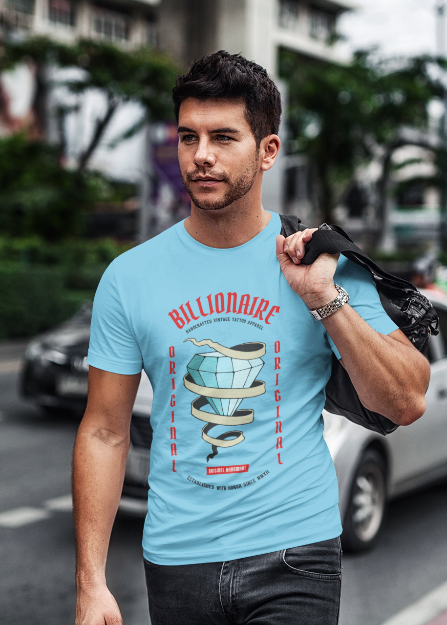 Billionaire - Men's Half Sleeve T-Shirt - Blue