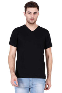 Plain - Men's V-Neck Half Sleeve T-Shirt - Black