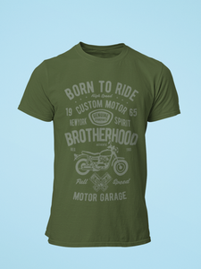 Born To Ride - Men's Half Sleeve T-Shirt - Olive Green