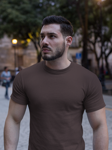 Plain - Men's Half Sleeve T-Shirt - Brown