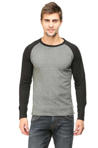 Plain - Men's Full Sleeve T-Shirt - Raglan - Charcoal Melange