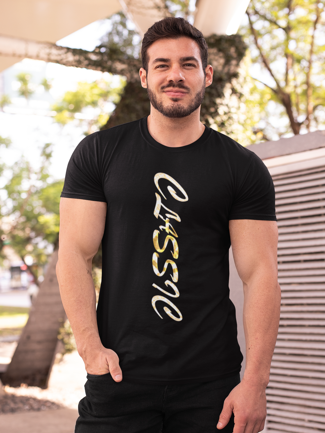 Classic Gold - Men's Half Sleeve T-Shirt - Black
