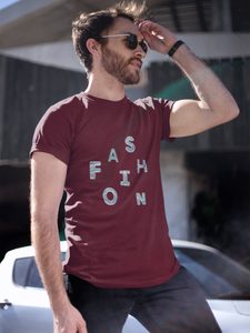 Fashion - Men's Half Sleeve T-Shirt - Maroon