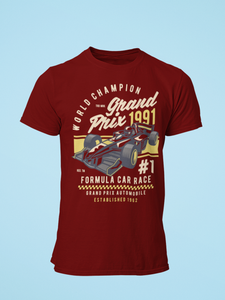 Grand Prix - Men's Half Sleeve T-Shirt - Maroon