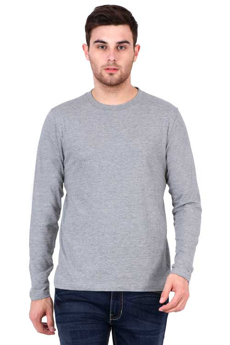 Plain - Men's Full Sleeve T-Shirt - Grey Melange