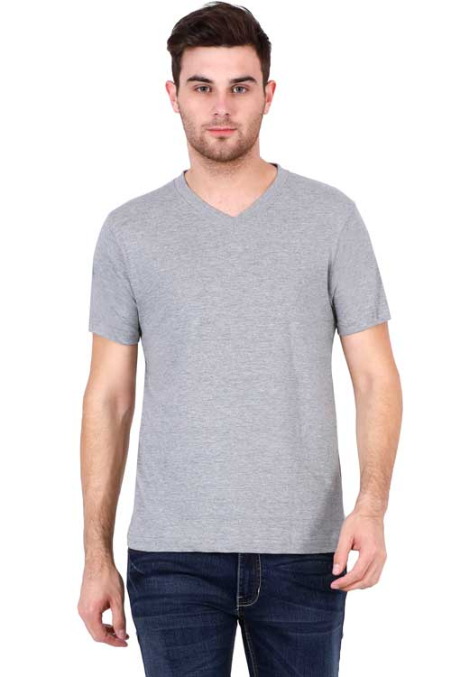 Plain - Men's V-Neck Half Sleeve T-Shirt - Grey