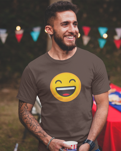 Happy - Men's Half Sleeve T-Shirt - Brown