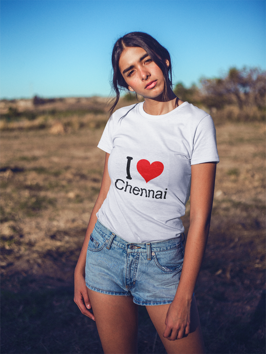 I Love Chennai - Women's Half Sleeve T-Shirt - White