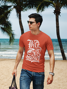 Life Story - Men's Half Sleeve T-Shirt - Brick Red