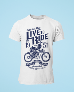 Live to Ride - Men's Half Sleeve T-Shirt - White