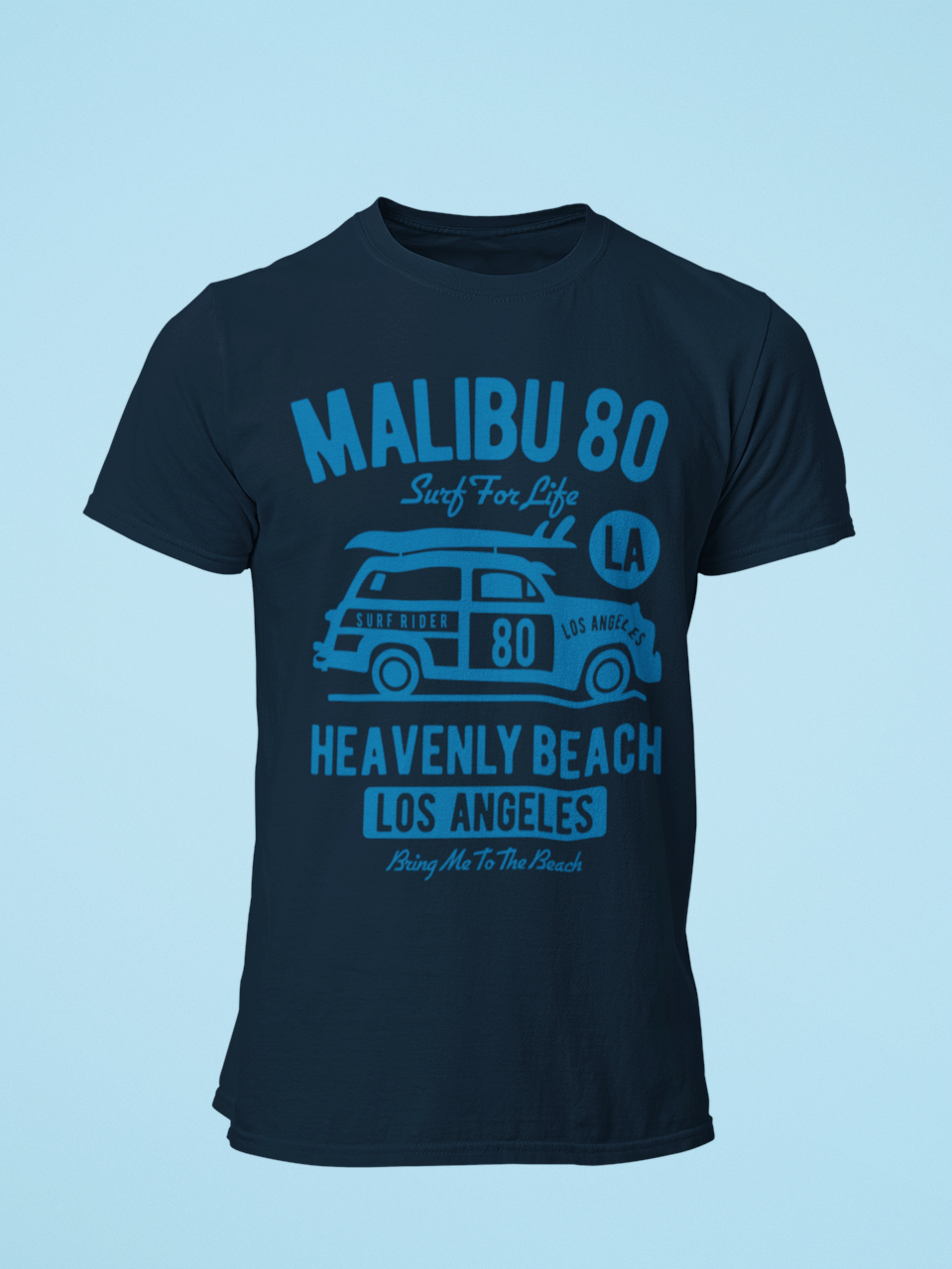 Malibu - Men's Half Sleeve T-Shirt - Navy Blue