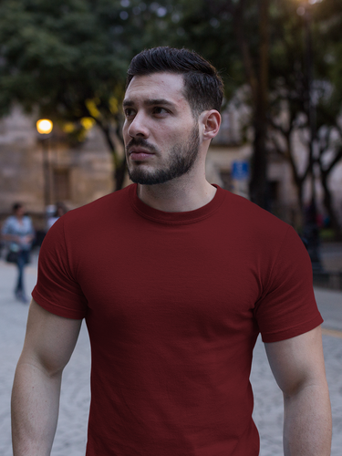 Plain - Men's Half Sleeve T-Shirt - Maroon