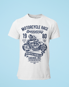 Motorace Speedway - Men's Half Sleeve T-Shirt - White