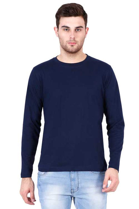 Plain - Men's Full Sleeve T-Shirt - Navy Blue