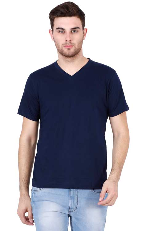 Plain - Men's V-Neck Half Sleeve T-Shirt - Navy Blue