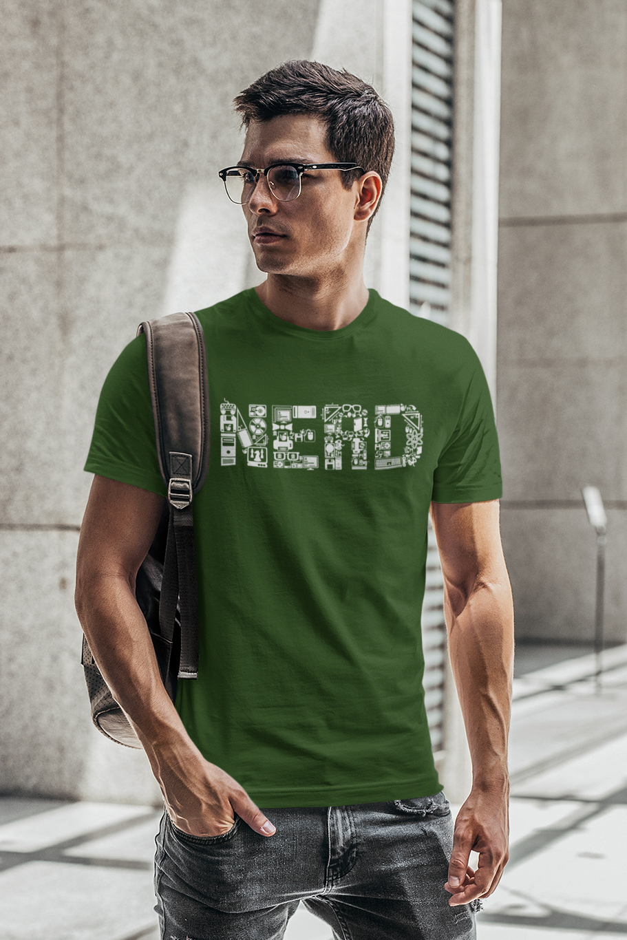 Nerd - Men's Half Sleeve T-Shirt - Green