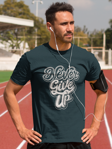 Never Give Up - Men's Half Sleeve T-Shirt - Petrol Blue