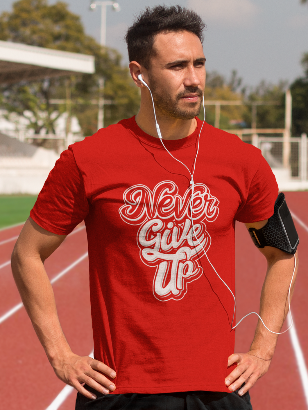 Never Give Up - Men's Half Sleeve T-Shirt - Red