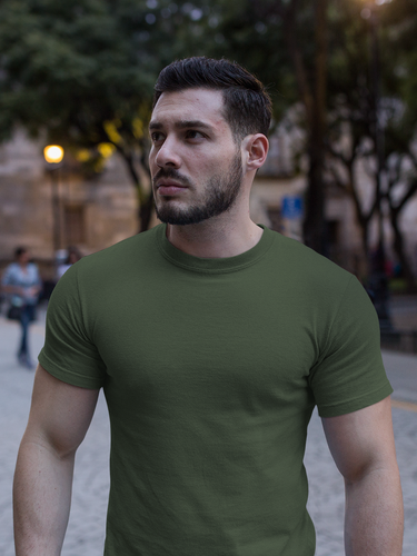 Plain - Men's Half Sleeve T-Shirt - Olive Green