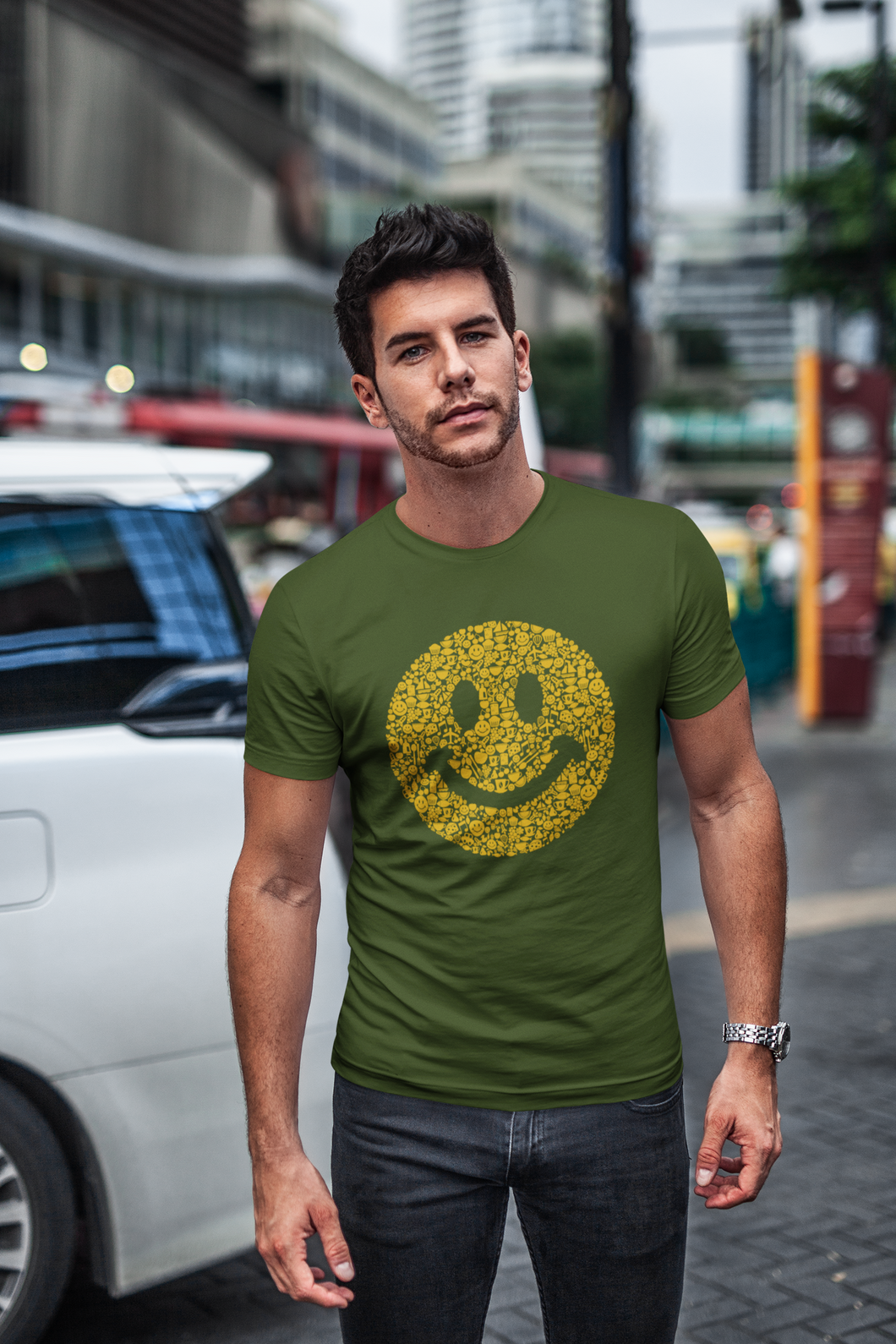 Emoji - Men's Half Sleeve T-Shirt - Olive Green