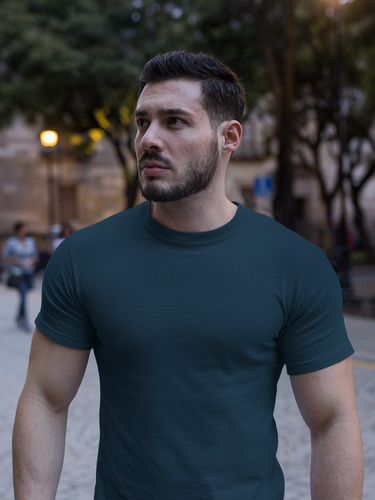 Plain - Men's Half Sleeve T-Shirt - Petrol Blue