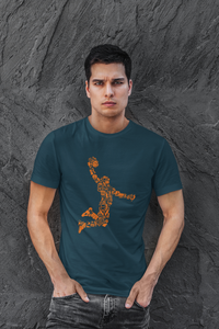 Basketball - Men's Half Sleeve T-Shirt - Petrol Blue