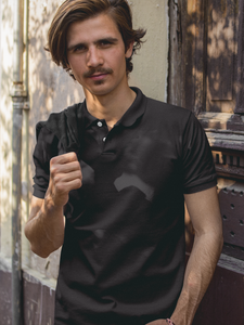 Plain - Men's Polo T-Shirt - Black