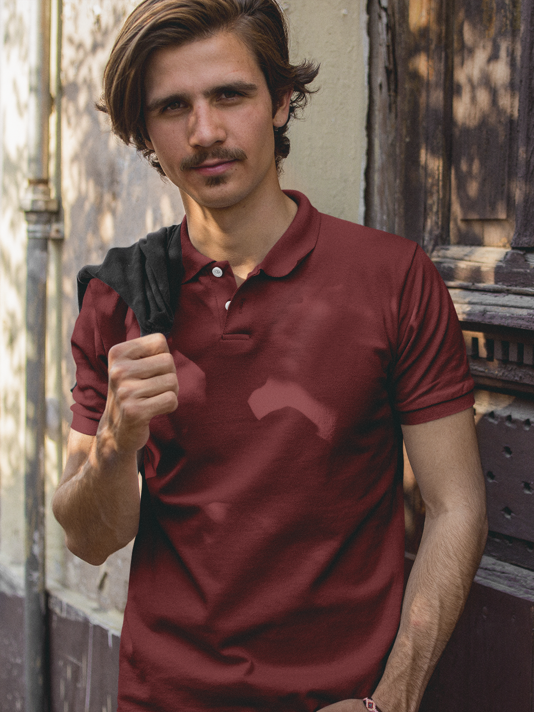Plain - Men's Polo T-Shirt - Maroon