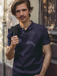 Plain - Men's Polo T-Shirt - Navy Blue