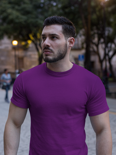 Plain - Men's Half Sleeve T-Shirt - Purple