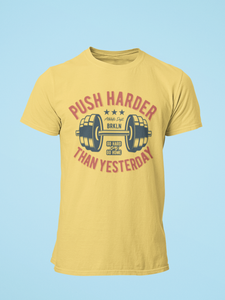 Push Hard - Men's Half Sleeve T-Shirt - Yellow