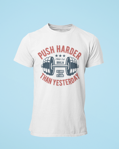 Push Hard - Men's Half Sleeve T-Shirt - White