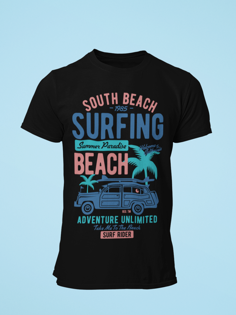 South Beach Surfing - Men's Half Sleeve T-Shirt - Black