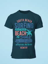 South Beach Surfing - Men's Half Sleeve T-Shirt - Petrol Blue