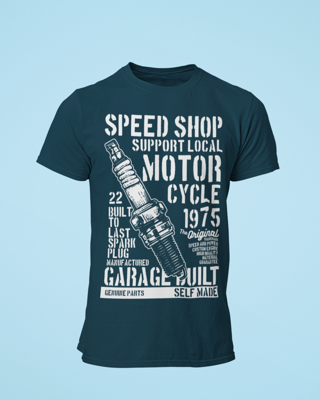 Speed Shop - Men's Half Sleeve T-Shirt - Petrol Blue