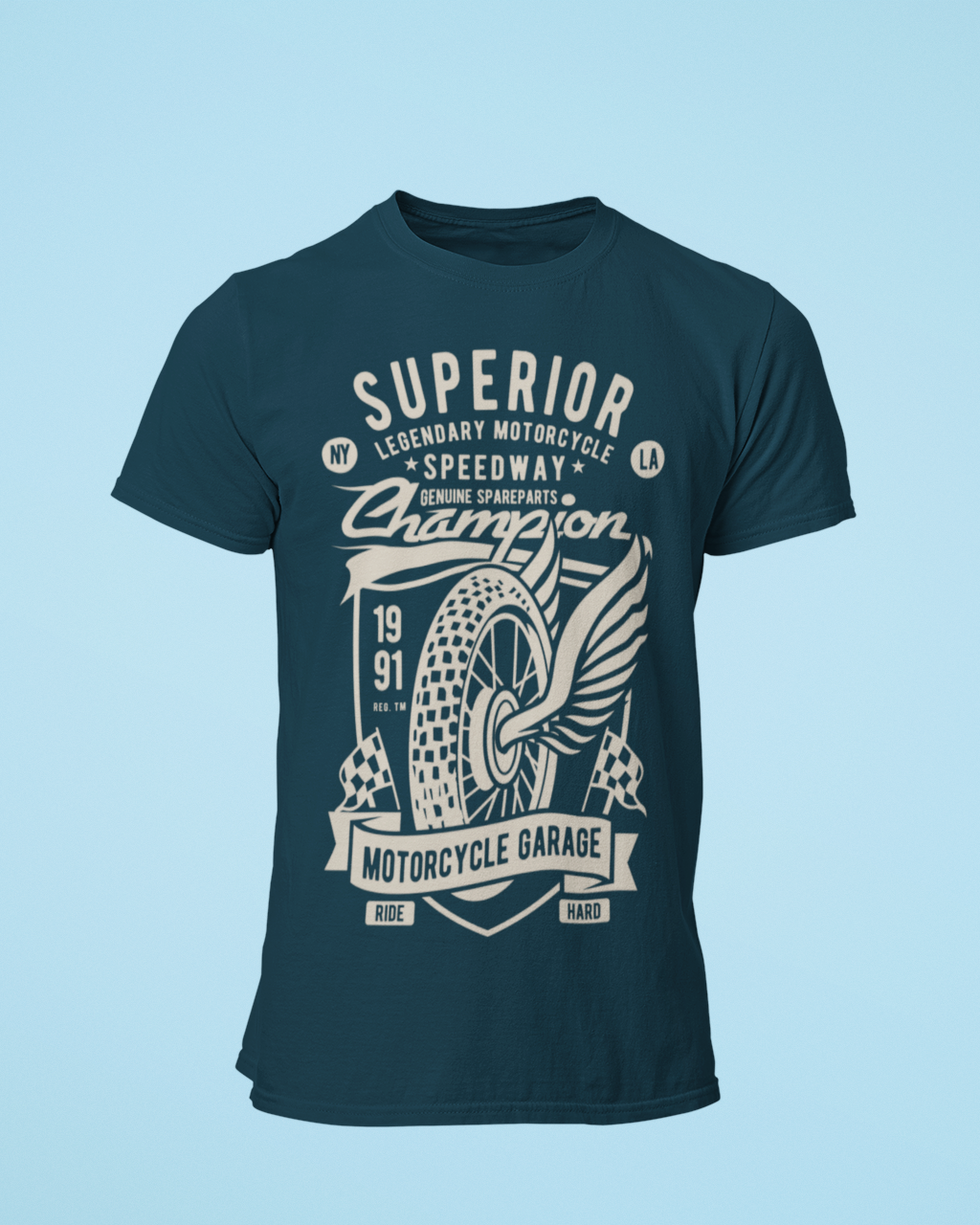 Superior Speedway - Men's Half Sleeve T-Shirt - Petrol Blue
