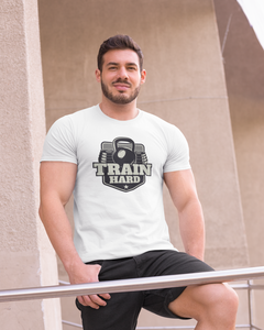 Train Hard - Men's Half Sleeve T-Shirt - White