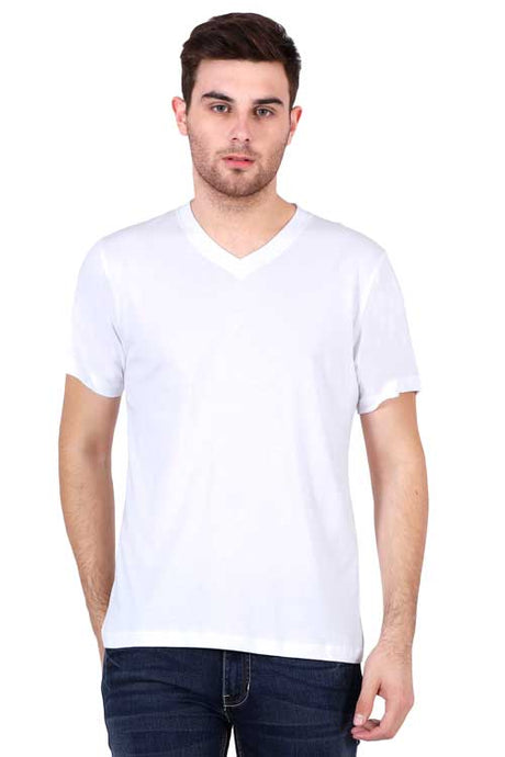Plain - Men's V-Neck Half Sleeve T-Shirt - White