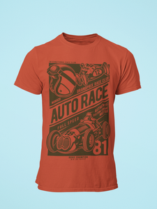 Auto Race - Men's Half Sleeve T-Shirt - Brick Red