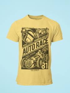 Auto Race - Men's Half Sleeve T-Shirt - Yellow